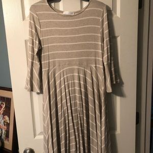Striped grey and white dress